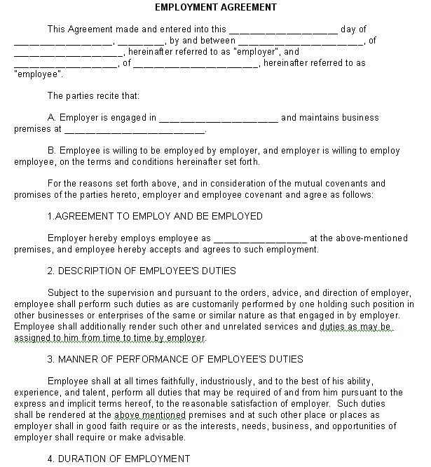 Employment Agreement Legal Form Sample