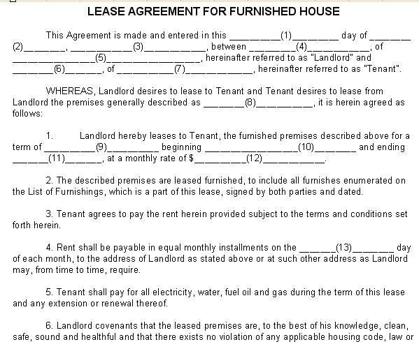 House Rent Contract Printable Sample Free Lease Agreement