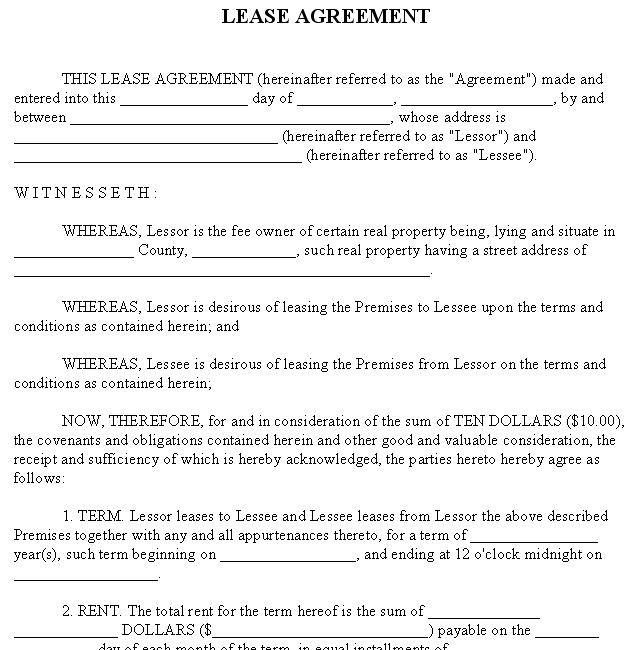 Lease Agreement  Sample Rental Form